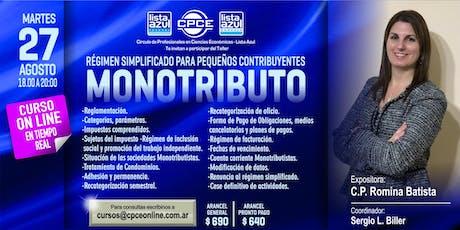 """Curso online - Régimen Simplificado para pequeños contribuyentes """"MONOTRIBUTO"""" biglietti"""