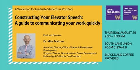 Constructing Your Elevator Speech: A guide to communicating your work quickly tickets