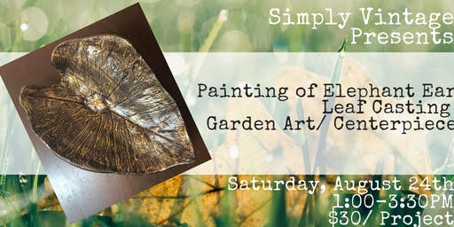 Painting of Elephant Ear Leaf Casting/ Garden Art