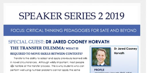 SPEAKER SERIES 2: CRITICAL THINKING PEDAGOGIES FOR SATE AND BEYOND
