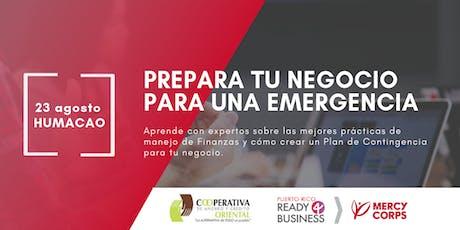 Prepara tu negocio para una emergencia tickets