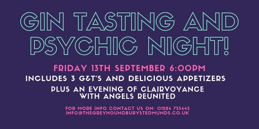 Gin Tasting and Psychic Night with Angels Reunited