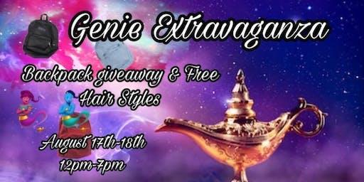 Genie's extravaganza  backpack/free hair styles