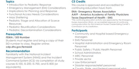 MGT -439 Pediatric Disaster Response and Emergency Preparedness in September tickets