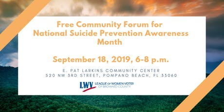 Free Community Forum for  National Suicide Prevention Awareness Month  tickets