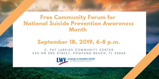 Free Community Forum for  National Suicide Prevention Awareness Month