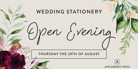 Appleberry Press Wedding Stationery Open Evening August tickets