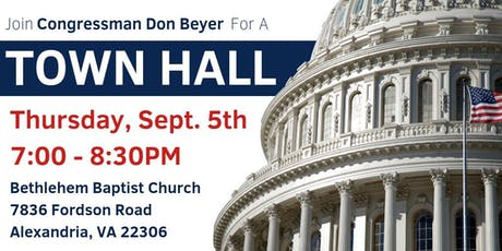 Congressman Don Beyer's Town Hall: September 5, 2019 tickets