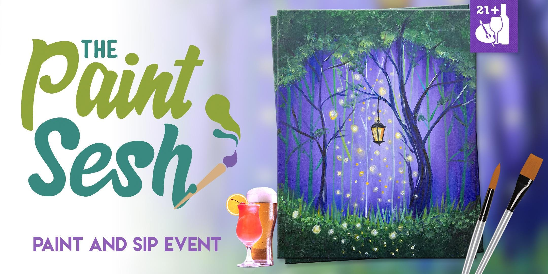 """Paint Night in Riverside, CA - """"Enchanted Forest"""""""