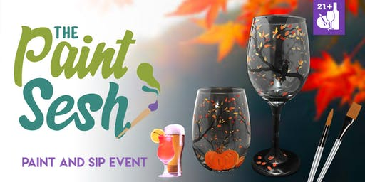 "Paint Night in Riverside, CA - ""Autumn"" Wine Glass Set"