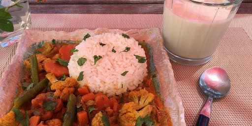 Vegetable Coconut Curry & Banana Lassi Cooking Class