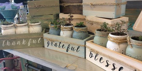 3pk Mason Jar Succulents in Wooden Box with lettering tickets
