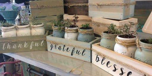 3pk Mason Jar Succulents in Wooden Box with lettering