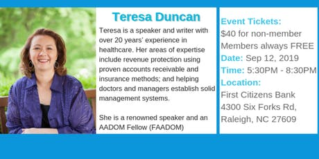 Join us Sep. 12th for a great even with Teresa Duncan.  tickets