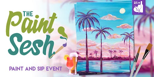"""Paint Night in Downtown Riverside, CA - """"Cotton Candy Skies"""""""