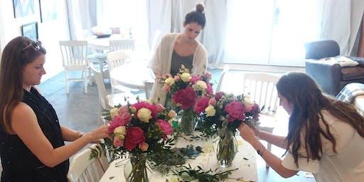 DIY Flower Design Workshop- Pretty Pinks & Green Bouquets