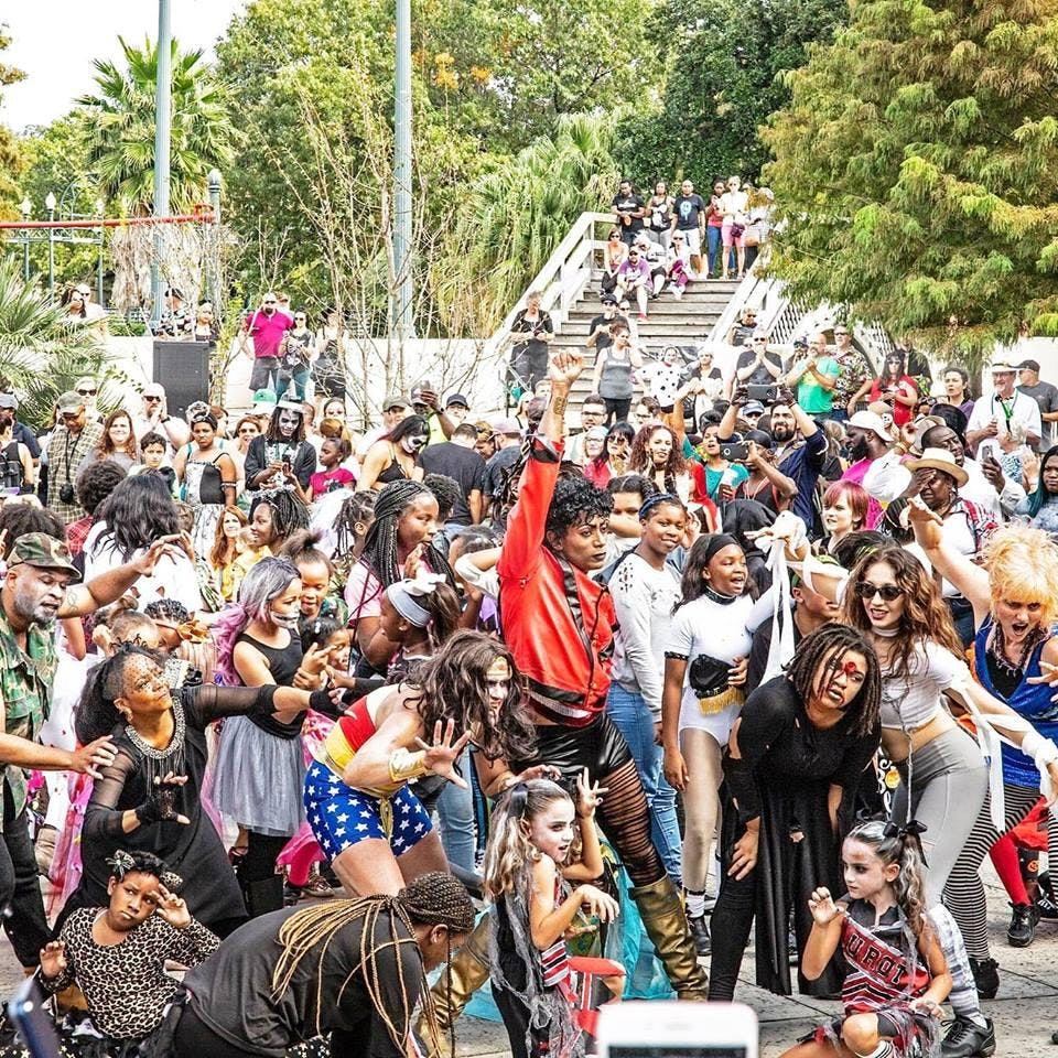 "Flash Mob New Orleans - 8th Annual Thriller Flashmob ""Majestic Fright In The Sunlight"" Workshop Experience2019 September 7, 2019 - October 31, 2019. Saturday's 3:30 - 4:30pm"