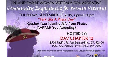 DATE CHANGE TO  11/21/19 - IEWVC Community Engmnt for Women Vets-Pirate Day