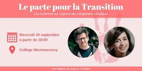 Conférence: Pacte pour la Transition avec Dominic Champagne / Laure Waridel tickets