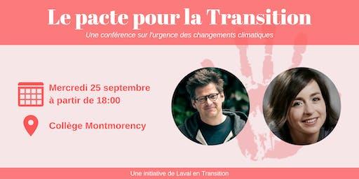 Conférence: Pacte pour la Transition avec Dominic Champagne / Laure Waridel