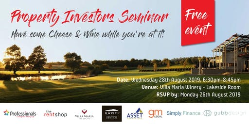 PROPERTY INVESTORS SEMINAR and have some Cheese & Wine while you're at it!