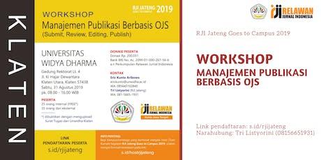 Workshop Manajemen Publikasi berbasis OJS tickets