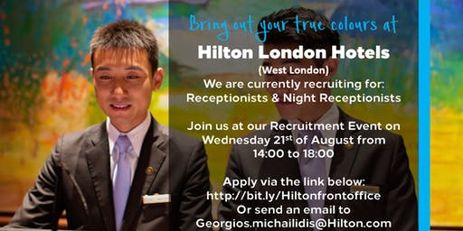 Front Office Assessment Centre - Hilton London Hotels - 21/08/19