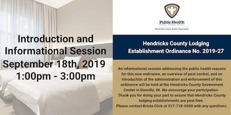 Hendricks County Lodging Establishment Ordinance  Introduction tickets