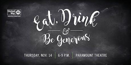 Eat, Drink & Be Generous - Mezzanine Level Seats tickets