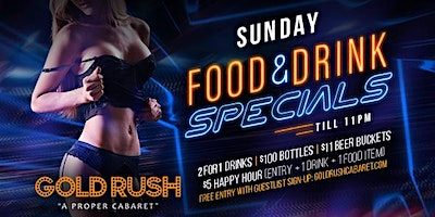 Sunday: Food & Drink Specials