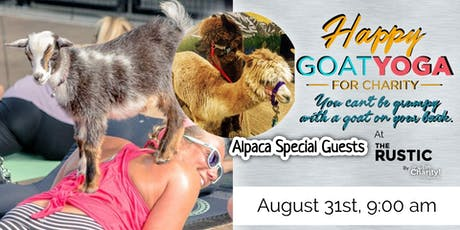 Happy Goat Yoga-For Charity with ALPACAS at The Rustic!! tickets