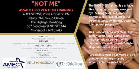 """Attention all ladies!! """"NOT ME"""" Assault Prevention Training tickets"""