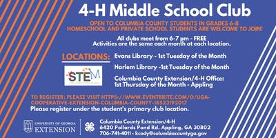 4-H Middle School Club - Harlem Library (Grades 6-8/ $12)