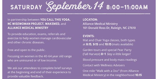 HeartDay NC 2019 - FREE Yoga, Blood pressure and body mass readings