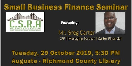 CSRA Business League Small Business Finance Workshop