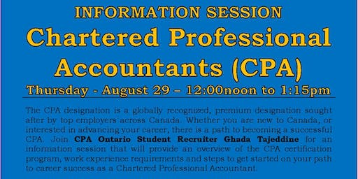 Information Session - Chartered Professional Accountants (CPA)