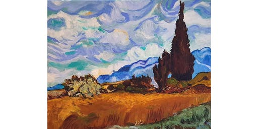 VanGogh Painting Night (wheatfields with cypresses)