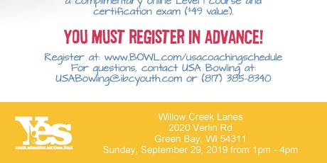 FREE USA Bowling Coach Certification Seminar - Willow Creek Lanes, Green Bay, WI tickets