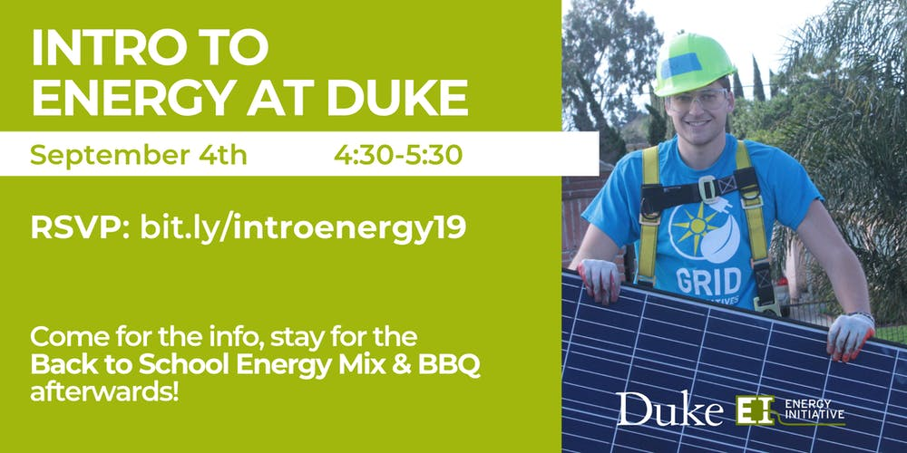 Intro to Energy at Duke, Sept  4, 2019 Tickets, Wed, Sep 4, 2019 at