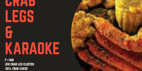 CRAB & KARAOKE @ PEARL BENET LOUNGE! THE ONLY ONES TO DO IT ON A FRIDAY! $10 CLUSTERS, 1/2 OFF CRAB Cakes, $1 Wings, many more specials! Sing your favorite hit! RSVP! (SWIRL)  tickets