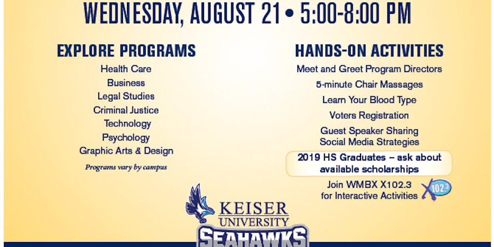 Keiser University Open House Tickets, Wed, Aug 21, 2019 at 5:00 PM on keiser university alumni, lively technical center campus map, berkeley college campus map, city college campus map, jwu providence campus map, eckerd college campus map, stanford campus map, daemen college campus map, keiser university blackboard, collier county campus map, daytona state college campus map, valencia college campus map, edward waters college campus map, keiser university tuition, keiser university certificate programs, keiser university housing, keiser university academic calendar, keiser university campus life, flagler college campus map, palm beach state college campus map,