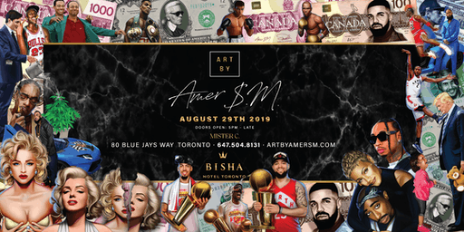 Art By Amer SM at Mister C lobby bar inside Bisha Hotel Toronto. Thursday Aug 29TH 2019.