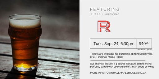4 Course Russell Brewing Pairing Dinner at Townhall Maple Ridge
