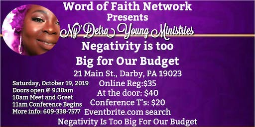 Negativity is too Big for Our Budget