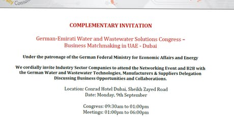 German-Emirati Water and Wastewater Solutions Congress – Business Matchmaking  tickets