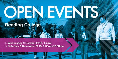 Reading College Autumn Open Events tickets