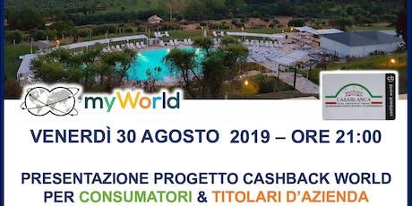 PRESENTAZIONE SVILUPPO COMMERCIALE DEL PROGETTO CASHBACK WORLD LYCONET biglietti
