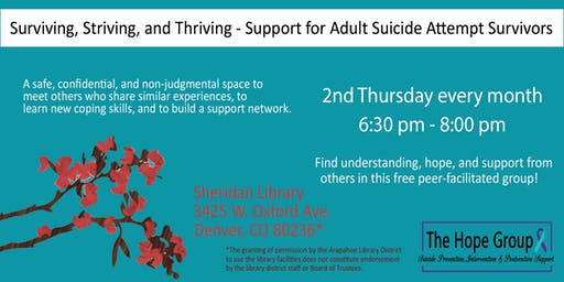 Suicide Attempt Survivor/Adults with Suicidal Thoughts Support Group - Surviving, Striving & Thriving