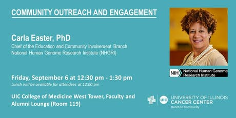 Carla Easter, PhD – Diversity in Genomic Data: The Community Engagement and the Quest for Precision Medicine tickets
