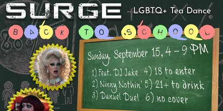 "Surge - LGBTQ+ Tea Dance - ""Back to School!"" tickets"
